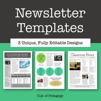 Newsletter Templates - Editable by Cult of Pedagogy TpT - template