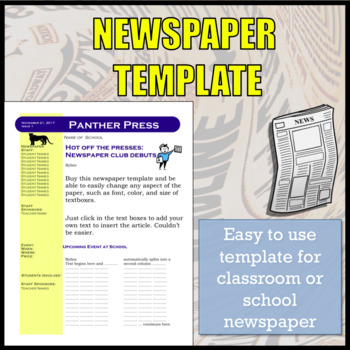 Newspaper Template for School Newspaper / Newspaper Club by SpanishPlans