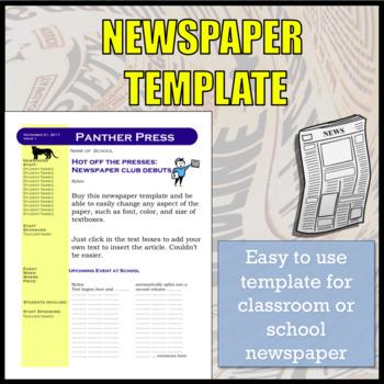 Newspaper Template for School Newspaper / Newspaper Club by SpanishPlans