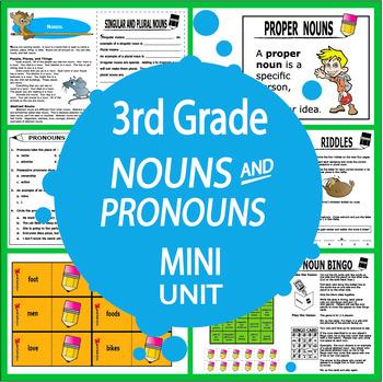 Nouns  Pronouns Activities + 4 Lessons, COLOR Game, Nouns