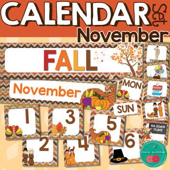 November Calendar Numbers by Cherry Workshop Teachers Pay Teachers