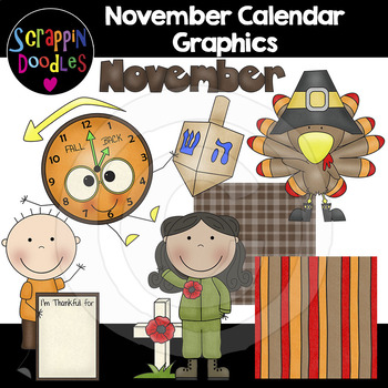 November Calendar Graphics by Scrappin Doodles TpT
