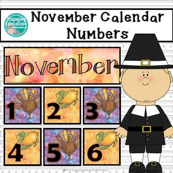 November Calendar Numbers by Engaging Education Materials TpT