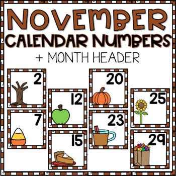 November Calendar Numbers for Pocket Chart Cards by Nurturing
