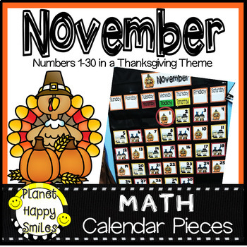 November Calendar Numbers or Math Station Number Cards by Planet