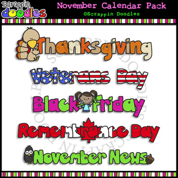 November Classroom Calendar Pack by Scrappin Doodles TpT