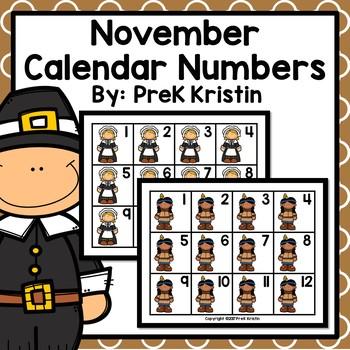 November (Thanksgiving Themed) Calendar Numbers by PreK Kristin TpT