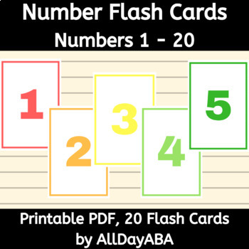 Number Flash Cards 1-20  Worksheets Teachers Pay Teachers