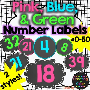 Number Labels - Classroom Decor - Pink, Blue, Green Chalkboard TpT