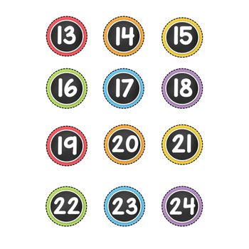Number Labels - Small - Chalkboard and Pastel - Numbers 1-36 TpT