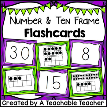 Number  Ten Frame Flashcards {1 to 30} by A Teachable Teacher TpT