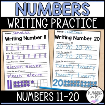 Number Writing Practice 11-20 by Planning in PJs TpT