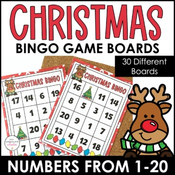 Numbers 1-20 Bingo Game - Christmas Theme by Hot Chocolate Printables