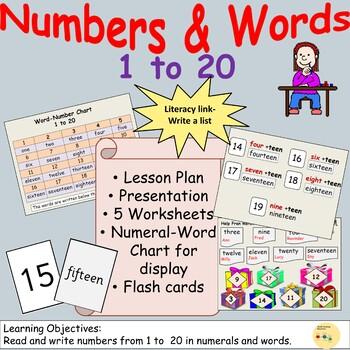 Numbers/Number Words 1 Presentation, Lesson Plan, Worksheets, ELA