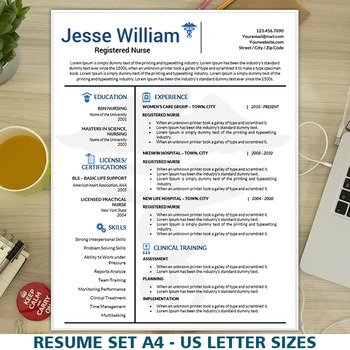 Nursing Resume Template, Medical Resume Instant Download, Nurse CV - resume template for nursing
