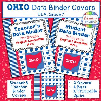 OHIO Data Binder Covers for 7th Grade ELA (Teacher  Student) TpT
