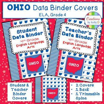 OHIO Data Binder Covers for 4th Grade ELA (Teacher  Student) TpT
