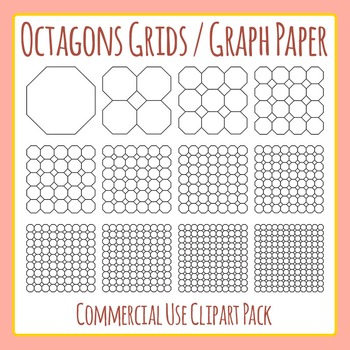 Octagon Grids / Graph Paper Commercial Use Clip Art Pack by Hidesy\u0027s