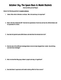 October Sky Video Questions History Physics Worksheet | TpT