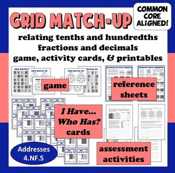 Grid Match-Up - relating tenths and hundredths game, activity cards