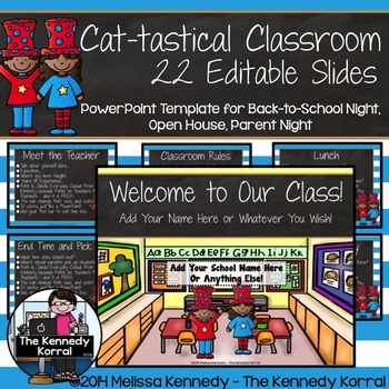 PPT Open House / Back-to-School Cat-tastical by The Kennedy Korral - open house powerpoint template