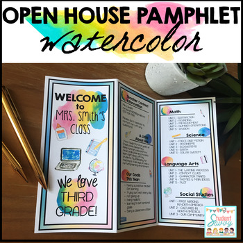 Open House Pamphlet Template - Watercolor by StudentSavvy TpT