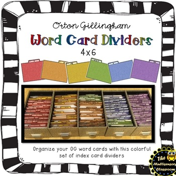 Orton Gillingham Word Card Dividers by The Multisensory Classroom
