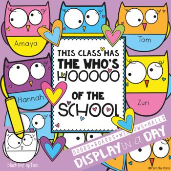 Owl Bulletin Board Set {The Who\u0027s Hooooooo of the School} by From