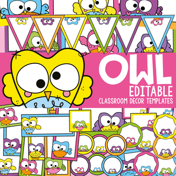 Owl Classroom Decor Templates and Labels by From the Pond TpT