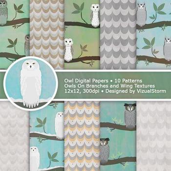 Owl Digital Paper, 10 Printable Woodland Bird Background Designs by