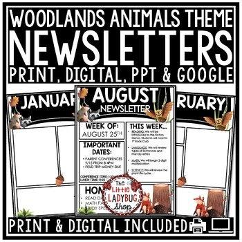 Owl Theme Classroom Monthly  Weekly Newsletter Template Editable