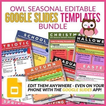 Owl Seasonal Editable Morning Work GOOGLE SLIDES Templates