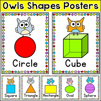 Shapes Posters - Owl Theme Classroom Decor by Pink Cat Studio TpT