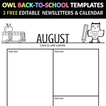 Owl Theme Back to School Editable Newsletter Template - Letterhead