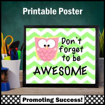 Owls Themed Classroom Decor, Be Awesome, Inspirational Quote Poster