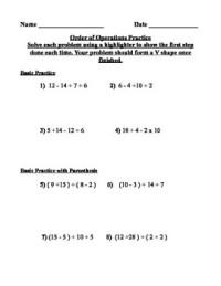PEMDAS ( Order of Operations) Practice Worksheet by Math ...