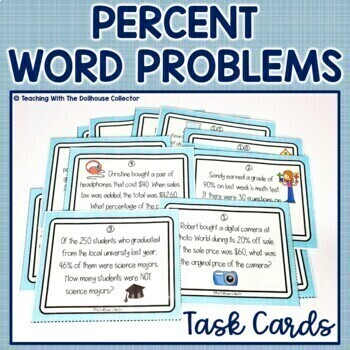 PERCENT WORD PROBLEMS Task Cards for Higher-Order Thinking TpT