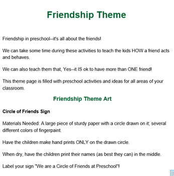 PRESCHOOL LESSON PLAN and ACTIVITIES- Friendship Week TpT