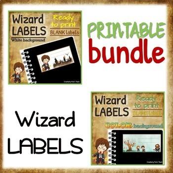 PRINTABLE Harry Potter LABELS - White  color backgrounds BUNDLE