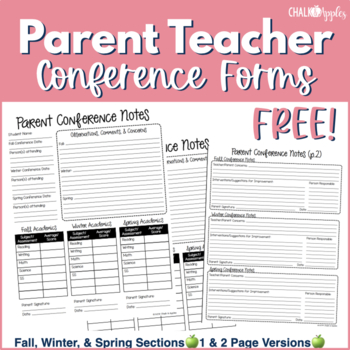 FREE Parent Teacher Conference Forms by Chalk and Apples TpT
