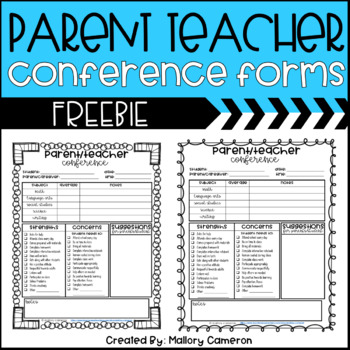 Freebie - Parent Teacher Conference Form by Mallory Cameron