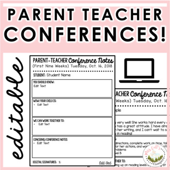 Parent Teacher Conference Form FREEBIE Digital or Print by