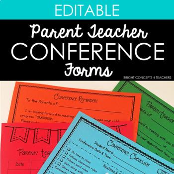 Parent Teacher Conference Forms {EDITABLE} by Bright Concepts 4 Teachers