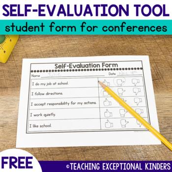 Student Self-Evaluation Form for Parent Teacher Conferences Freebie