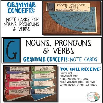 Grammar Concepts Nouns, Pronouns  Verbs Note Cards TpT