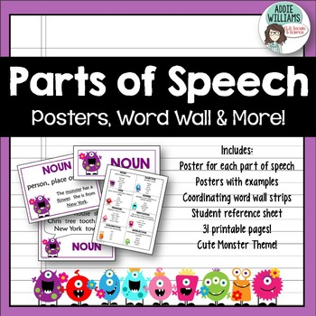 Parts of Speech Posters by Addie Williams Teachers Pay Teachers