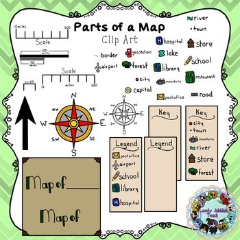 Parts of a Map Clip Art by Lovely Jubblies Teach TpT