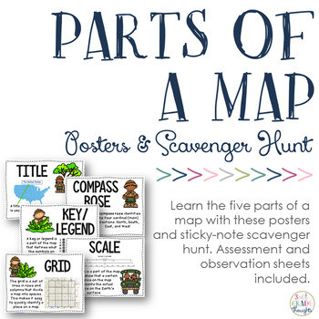 Parts of a Map Posters  Sticky Note Scavenger Hunt by 3rd Grade