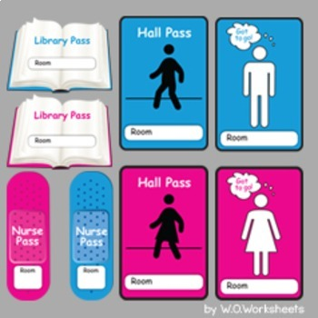 Bathroom Passes, Hall Pass, Nurse, Library, Office, Line Leader by