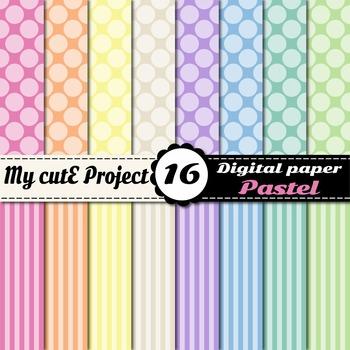 Pastel DIGITAL PAPER Big Polka dots  stripes - Scrapbooking- A4